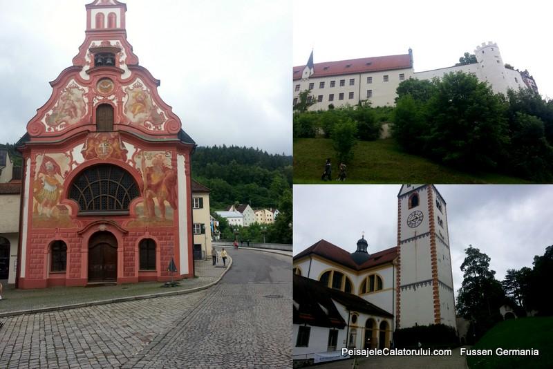 Basilica Lechhalde (stanga). Castelul Hohes Schloss (dreapa-sus) si Basilica St. Mang (dreapta-jos)